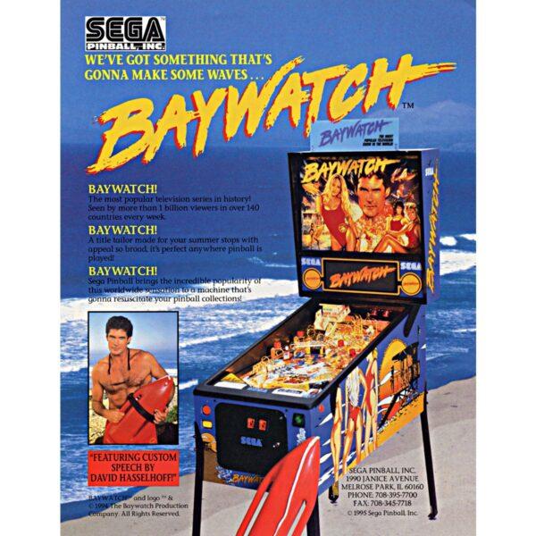 Baywatch Pinball Machine Flyer