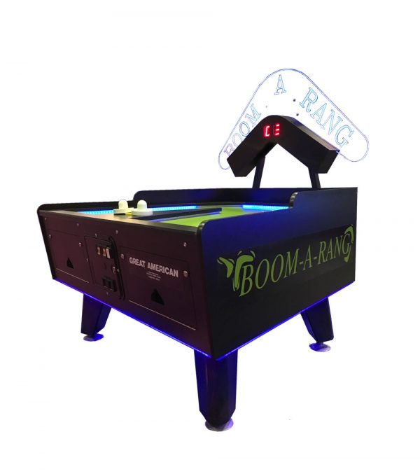 BoomARangLED Vibert Green 600x677 - Great American Boom-A-Rang Air Hockey Table with Electronic Scoring