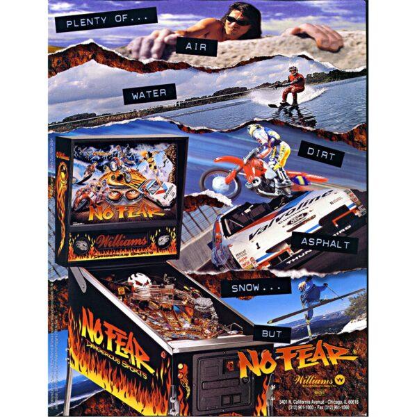 No Fear Pinball Machine Flyer