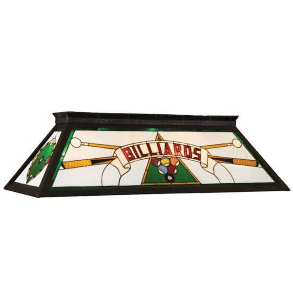 Stained Glass Billiards Light Fixture Green