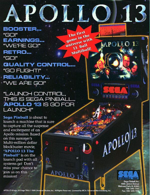 apollo image 3 600x783 - Apollo 13 Pinball Machine