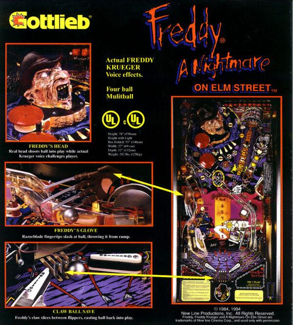 nightmare image 8 600x664 - Freddy: A Nightmare On Elm Street - Pinball Machine