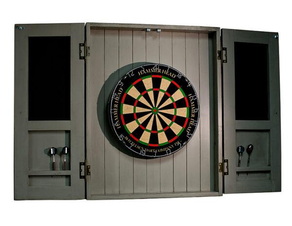 Dartboard cabinet open 600x464 - Rustic Dartboard Cabinet