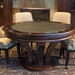 "Hamilton Poker Table 150x150 - Octagonal 2-in-1 Poker Table (48"") Set with 4 Chairs"