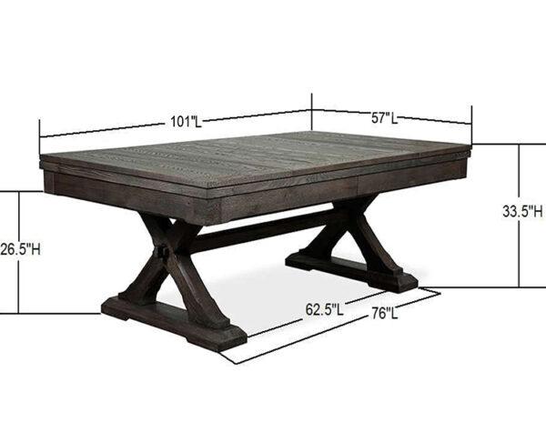 Kairba with Dims 8 Foot table 600x464 - Kariba Pool Table