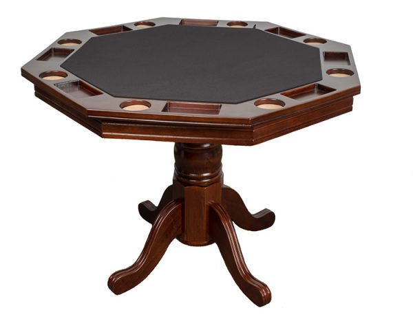 "Poker Table Espresso 1 600x464 - Octagonal 2-in-1 Poker Table (48"") Set with 4 Chairs"