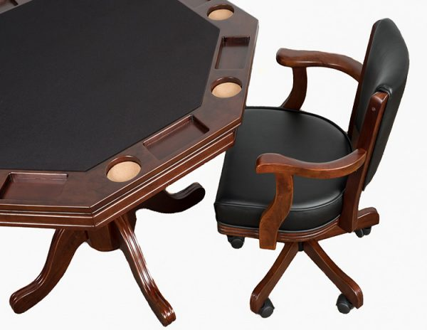 "Poker Table With Caster Chair 1 600x464 - Octagonal 2-in-1 Poker Table (48"") Set with 4 Chairs"