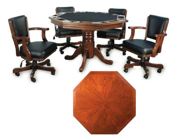 "Poker Table With Top 600x464 - Octagonal 2-in-1 Poker Table (48"") Set with 4 Chairs"