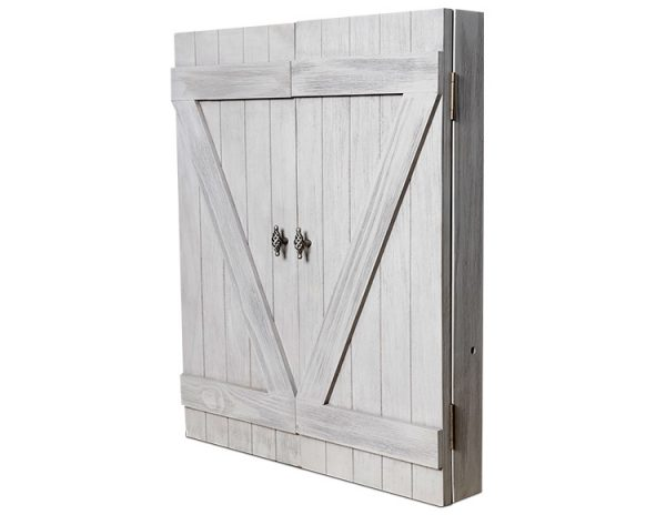Rustic dartboard cabinet main 600x464 - Rustic Dartboard Cabinet