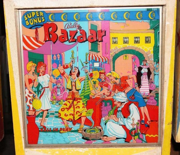 Bazaar Pinball Machine by Bally Backglass
