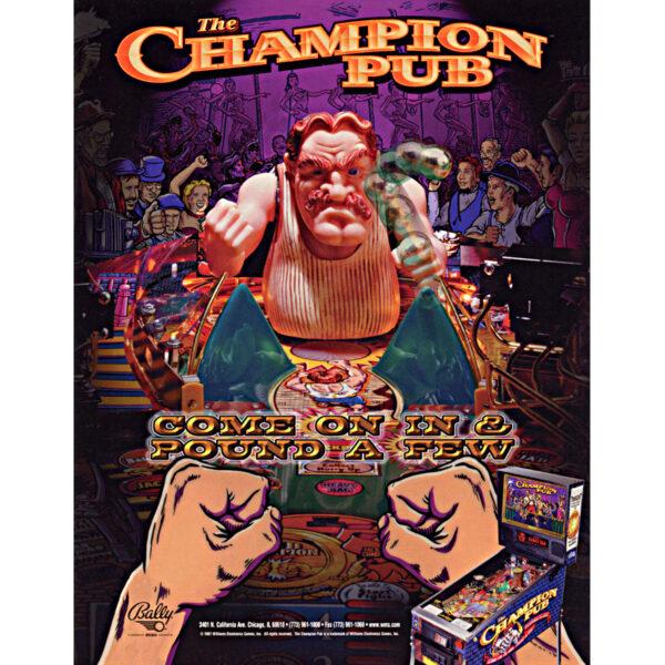 Champion Pub Pinball Machine Flyer 1 600x600 - Champion Pub Pinball Machine