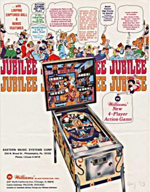 Jubilee Pinball Machine by Williams Flyer