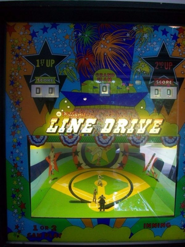 Line Drive Pinball Machine Backglass