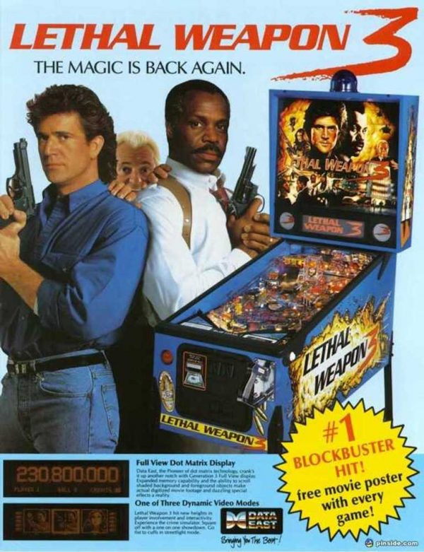 Lethal Weapon Pinball Machine Flyer