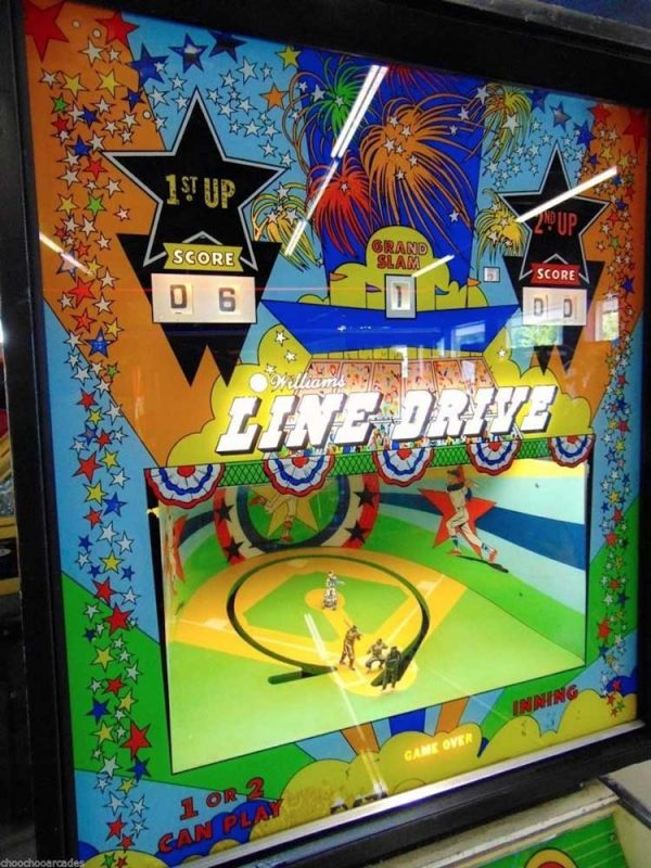Line Drive Pinball Machine by Williams Electronics Backglass