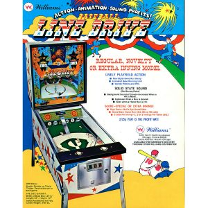 Line Drive Pinball Machine Flyer