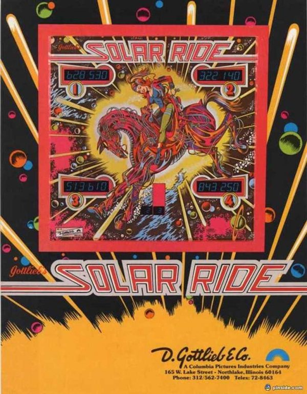 Solar Ride Pinball Machine Flyer