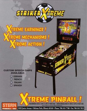 Striker Xtreme Pinball Machine Flyer