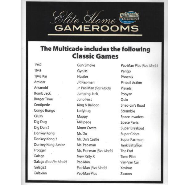 Ms. Pac Man Arcade 60 in 1 game list 600x600 - Ms. Pac-Man / Galaga Class of '81 Multicade Arcade