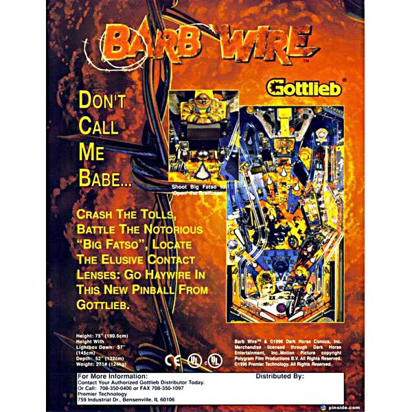 Barb Wire Pinball Machine Flyer