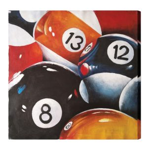 8, 12 and 13 Billiard Balls Oil Painting
