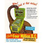Four Million BC Pinball Machine Flyer