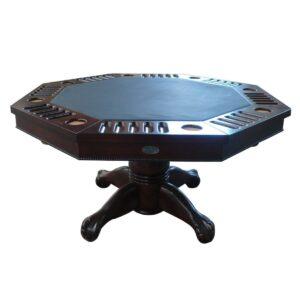3 in 1 Combination Table Octagon 48 Inch - Dark Walnut
