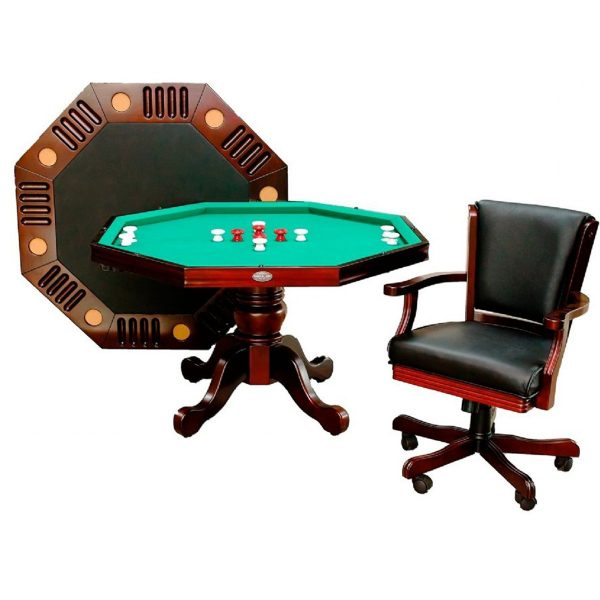 3 in 1 Octagon Combination Table - 54 inch Mahogany 1