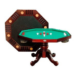 3 in 1 Octagon Combination Table - 54 inch Mahogany 2
