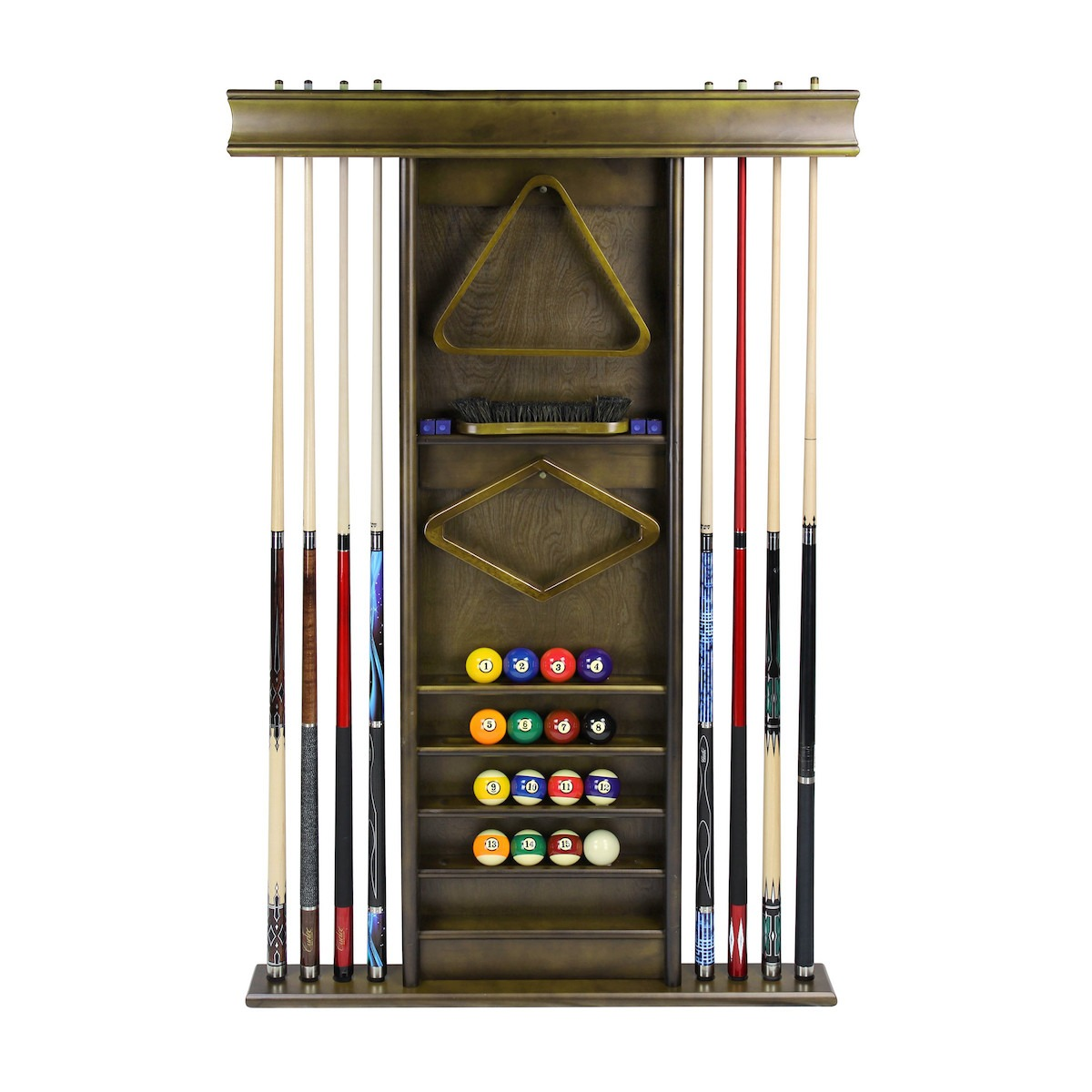 Deluxe Wall Cue Rack Cappuccino 1 - Dutchess Pool Table