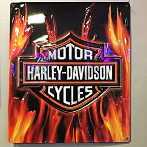 Harley Davidson Flame Logo Tin Sign