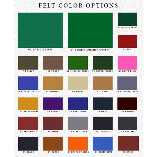 Legacy Pool Table Felt Color Options