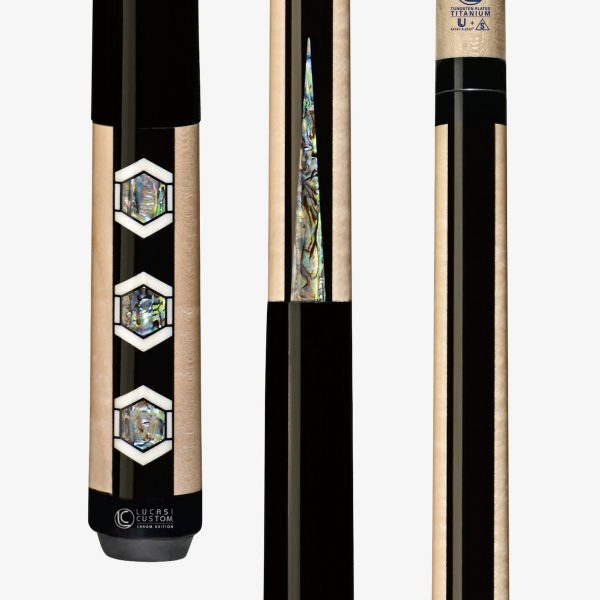 Lucasi Custom Carom Pool Cues - Hexagon Shaped Abalone