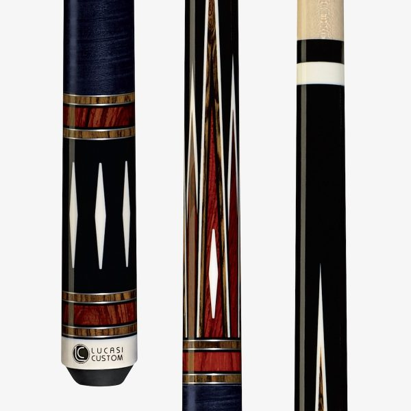 Lucasi Custom Pool Cues - 6-point cocobolo and bocote inlay