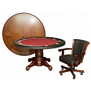 """Poker Table with Dining Top - 60"""" Dark Walnut 6"""