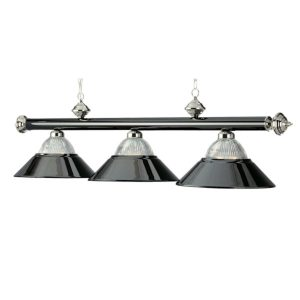 Three-Light Billiard Pendant Light - Black Chrome