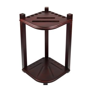 Double Thick Corner Cue Rack - Mahogany