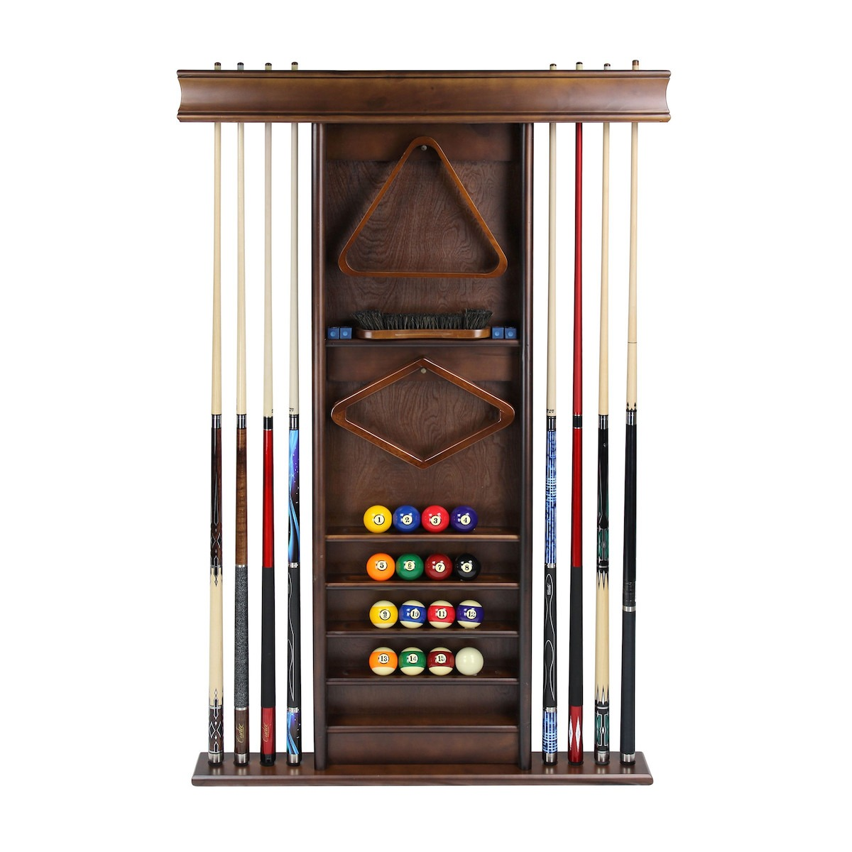 Deluxe Wall Rack Antique Walnut Elite Home Gamerooms