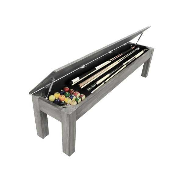 "76"" Silver Mist Billiard Storage Bench"