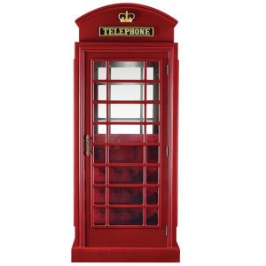 Old English Telephone Booth Home Bar Cabinet