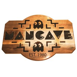 Pac-Man Cave Maple Wooden Plaque
