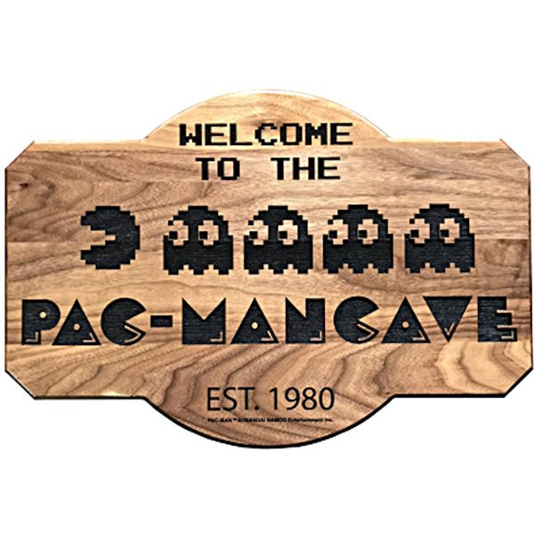 Welcome to the Pac-Man Cave Maple Plaque