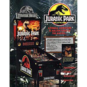Jurassic Park Pinball Data East Flyer