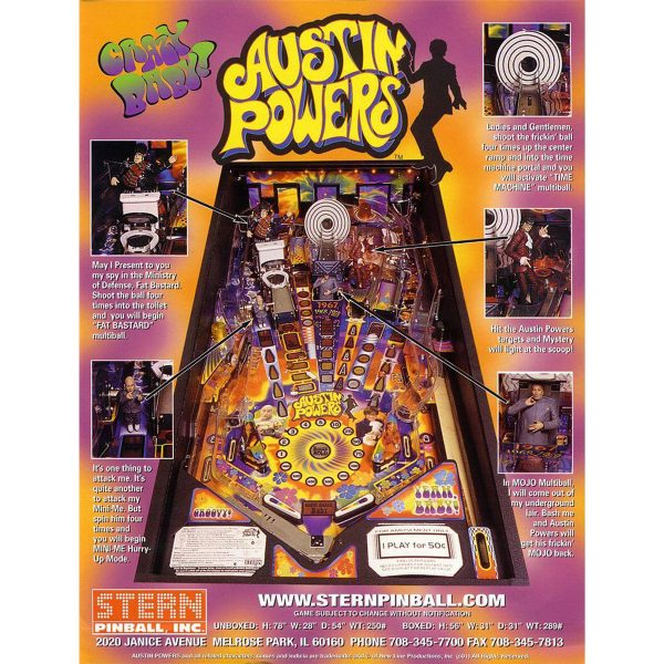 Austin Powers Pinball Machine Flyer 1 600x600 - Austin Powers Pinball Machine